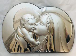Icona in argento Madonna con Bambino