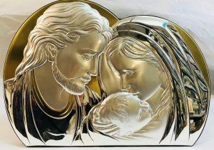 Icona Sacra Famiglia in argento